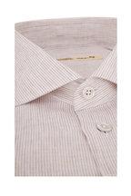 Maurizio Baldassari - Beige Mini Stripe Linen Sport Shirt