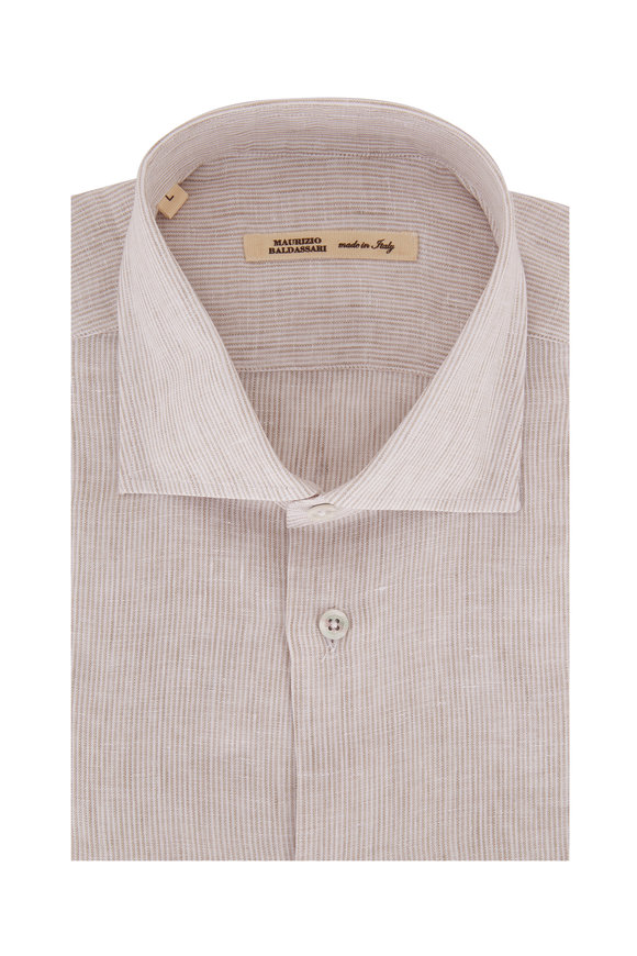 Maurizio Baldassari Beige Mini Stripe Linen Sport Shirt
