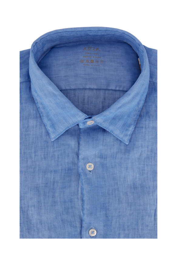 Altea Light Blue Linen Washed Sport Shirt