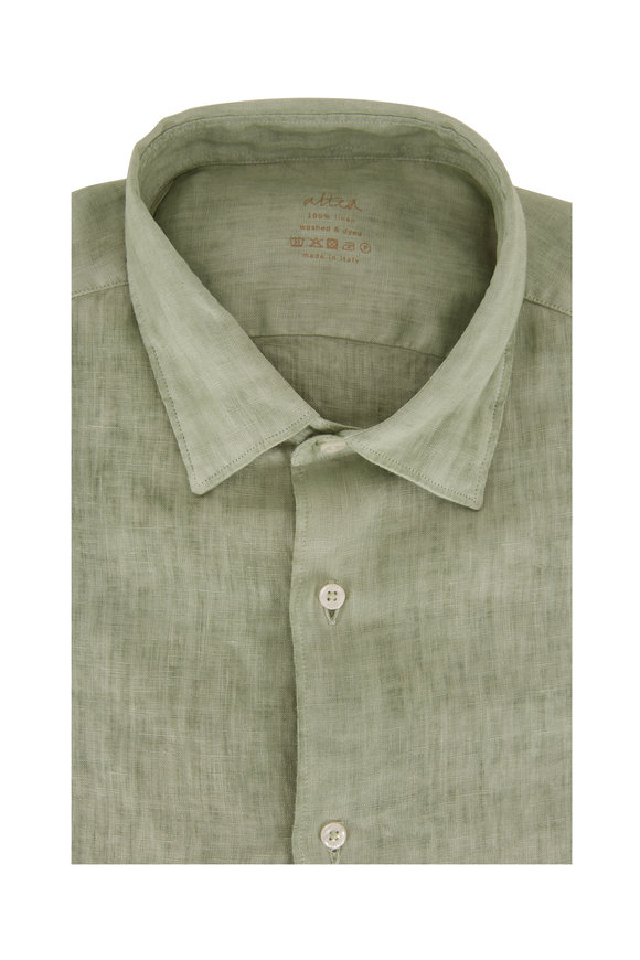 Altea Green Washed Linen Sport Shirt