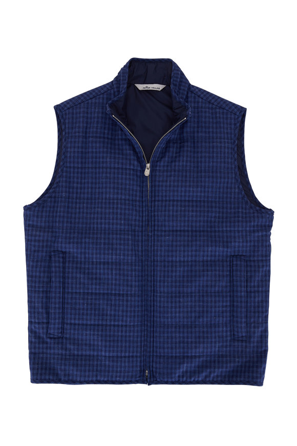 Peter Millar Countryside Navy Plaid Front Zip Vest