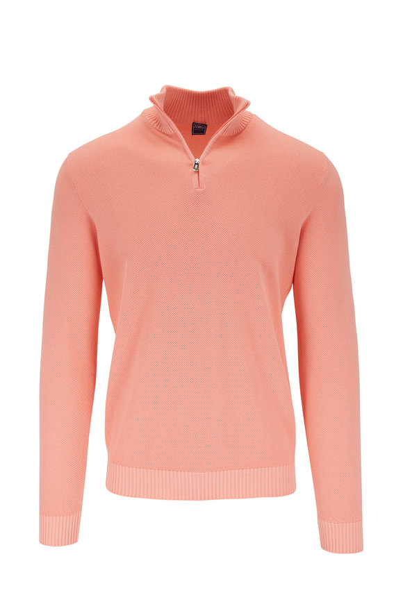 Fedeli Favonio Orange Quarter-Zip Pullover