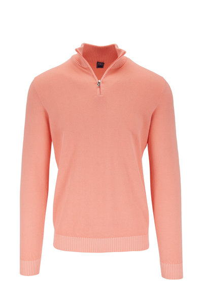 Fedeli - Favonio Orange Quarter-Zip Pullover