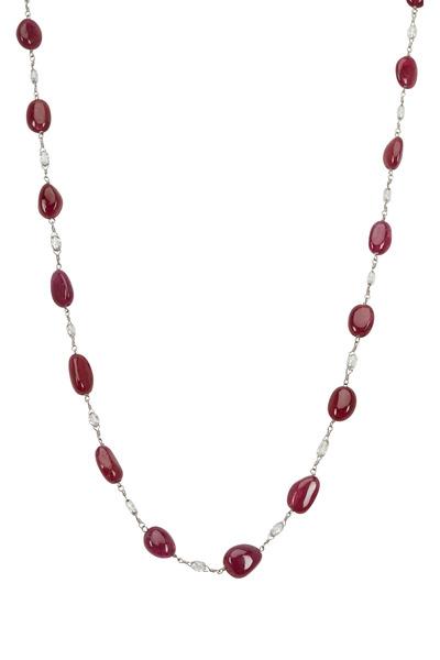 Paul Morelli - Platinum Briolette Ruby & Diamond Necklace