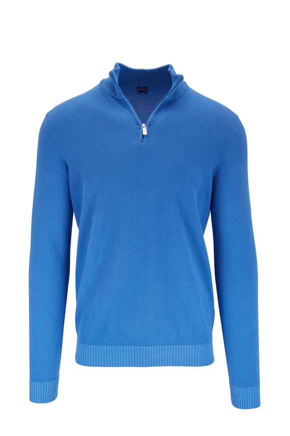 Fedeli Favonio Royal Blue Quarter-Zip Pullover