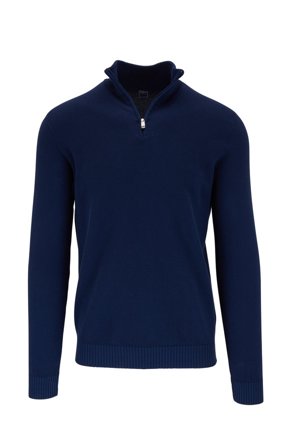 Fedeli Favonio Navy Quarter-Zip Pullover