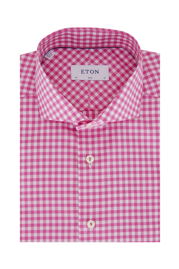 Eton Fuchsia Gingham Slim Fit Sport Shirt