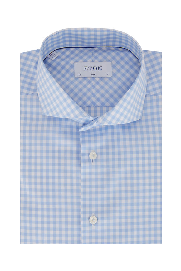 Eton Light Blue Gingham Slim Fit Sport Shirt