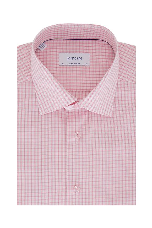 Eton Light Pink Check Contemporary Fit Dress Shirt