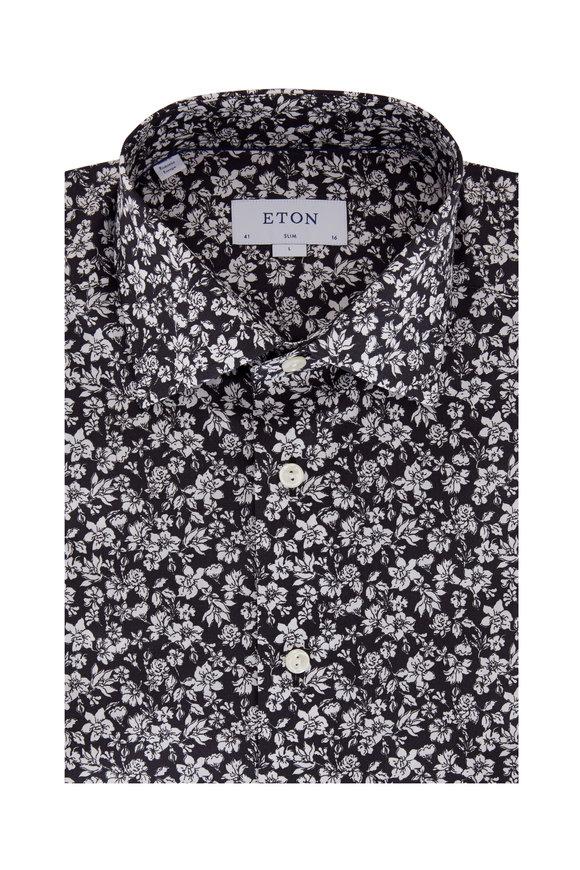 Eton Black & White Floral Slim Fit Dress Shirt
