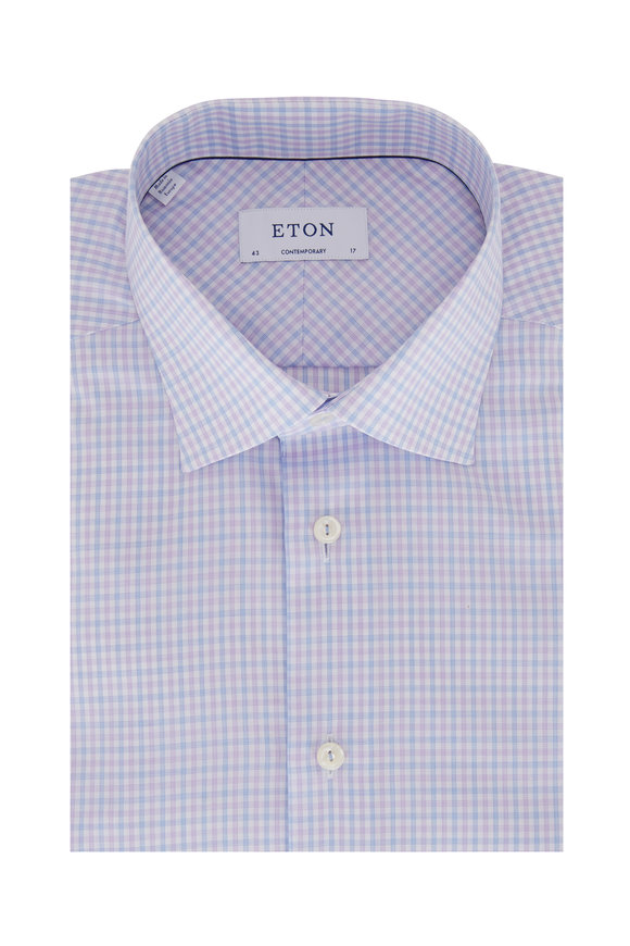 Eton Blue & Lavender Check Contemporary Fit Dress Shirt