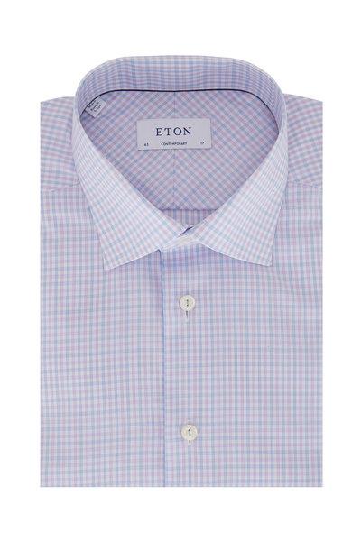 Eton - Blue & Lavender Check Contemporary Fit Dress Shirt