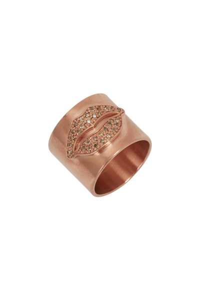 Tulah Jem - Rose & Yellow Gold Diamond Lips Cylinder Ring
