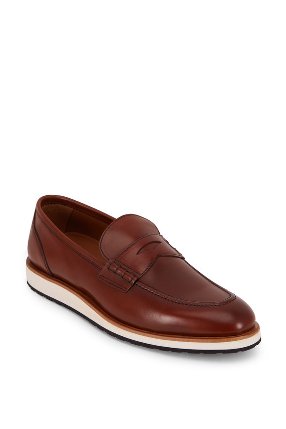 Aquatalia Pearson Cognac Leather Weatherproof Loafer