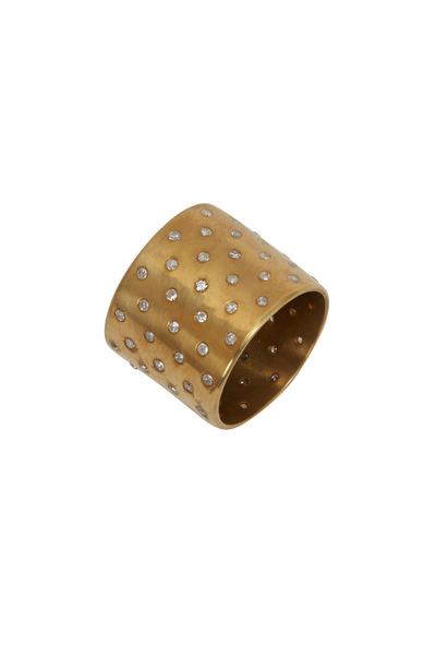 Tulah Jem - Yellow Gold Diamond Cylinder Ring