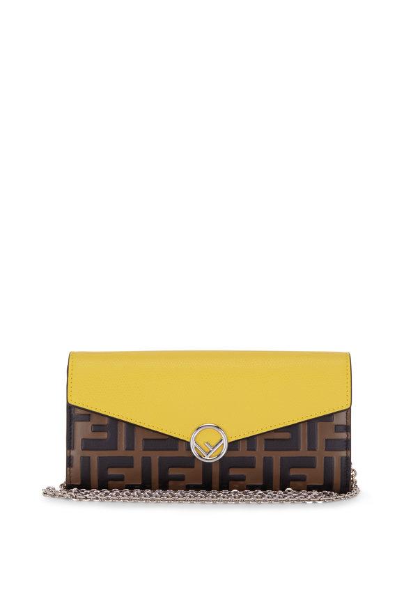 Fendi F Fendi Brown & Yellow Continental Chain Wallet