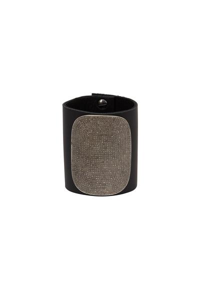 Tulah Jem - Black Leather White Diamond Cuff Bracelet