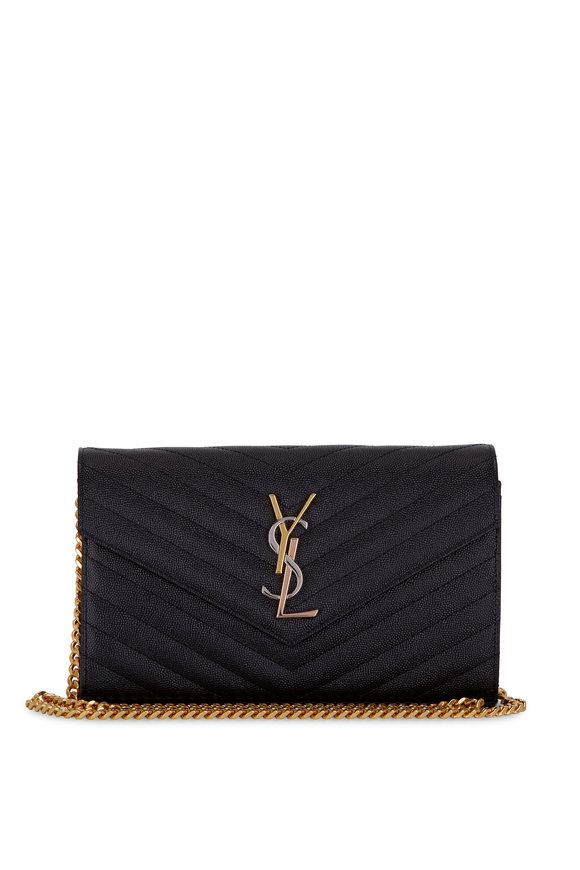 Saint Laurent Monogram Black Tricolor Signature Chain Wallet