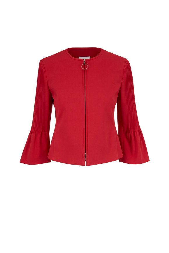 Akris Punto Luminous Red Pleated Sleeve Front Zip Jacket