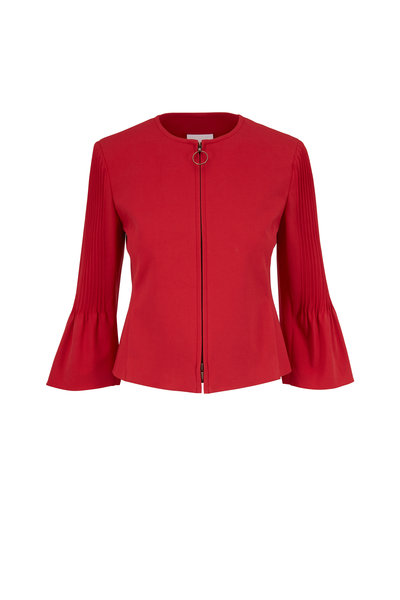 Akris Punto - Luminous Red Pleated Sleeve Front Zip Jacket