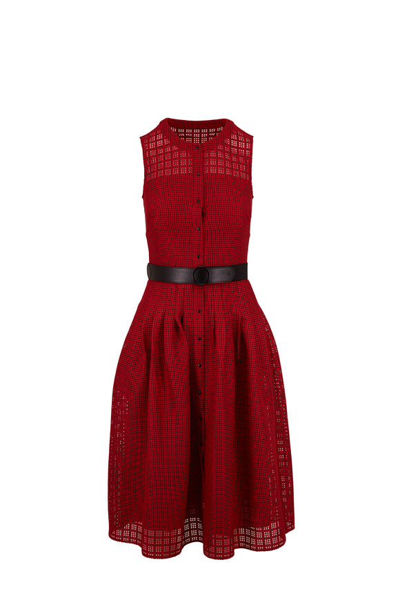 Akris Punto Luminous Red & Black Grid Lace Sleeveless Dress