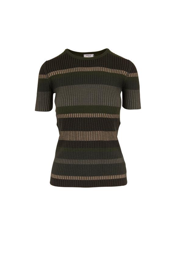 Akris Punto Yucca & Agave Stripe Wool Ribbed T-Shirt