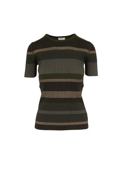 Akris Punto - Yucca & Agave Stripe Wool Ribbed T-Shirt