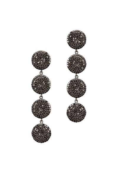 Tulah Jem - Desending Circle Black Diamond Dangle Earrings
