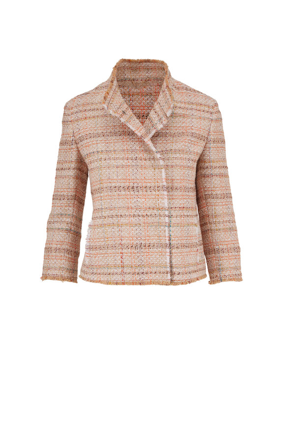Akris Punto Cream & Tangerine Lurex Tweed Jacket