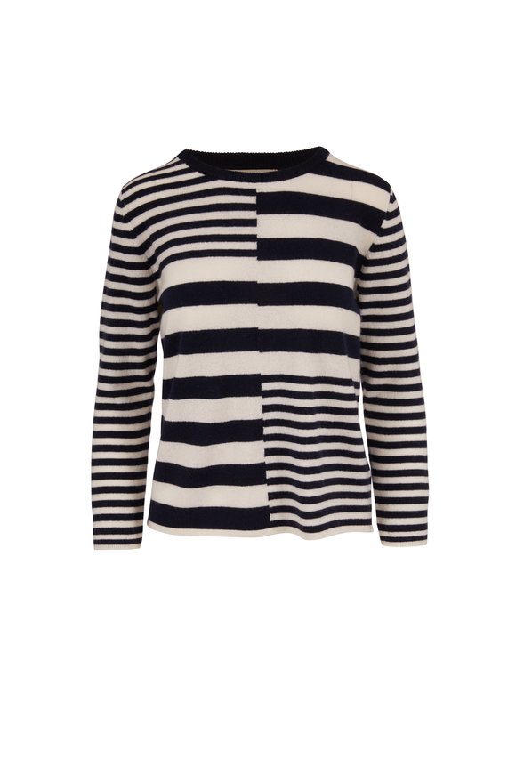 Jumper 1234 Cream & Navy Cashmere Stripe Crewneck Sweater