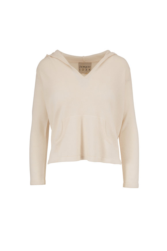 Jumper 1234 Cream Cashmere Shrunken Hooded Sweater