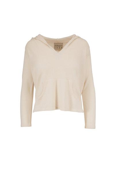 Jumper 1234 - Cream Cashmere Shrunken Hooded Sweater