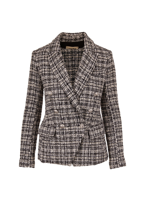 L'Agence Kenzie Black & White Tweed Double-Breasted Blazer