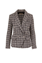 L'Agence - Kenzie Black & White Tweed Double-Breasted Blazer