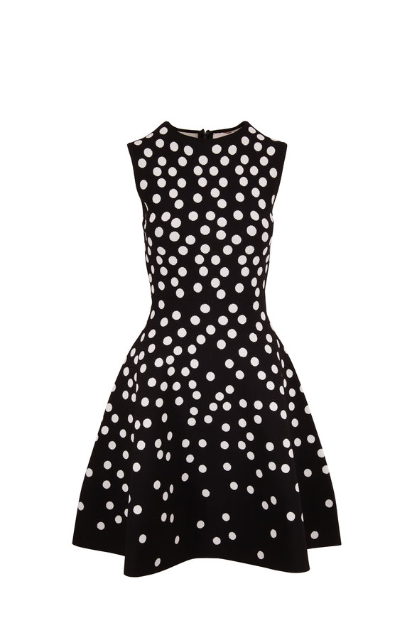 Carolina Herrera Black & White Jacquard Dot Sleeveless Knit Dress