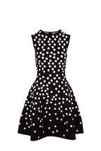 Carolina Herrera - Black & White Jacquard Dot Sleeveless Knit Dress