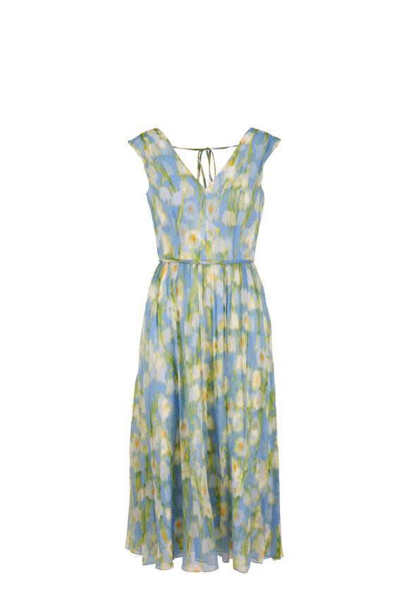 Carolina Herrera Multicolor Printed Silk Sleeveless Midi Dress