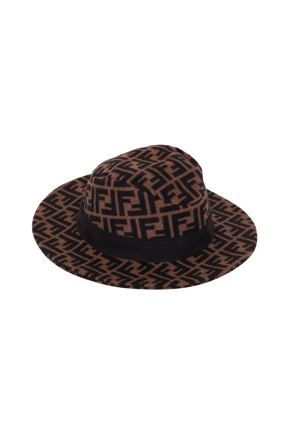 Fendi Tobacco Wool & Cashmere FF Logo Hat