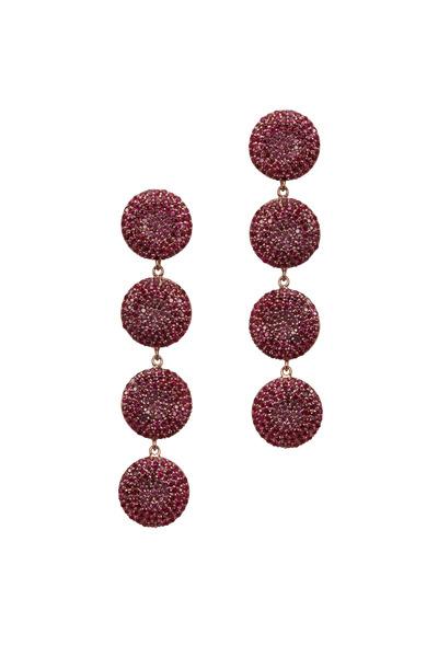 Tulah Jem - Rose Gold Ruby Circle Dangle Earrings
