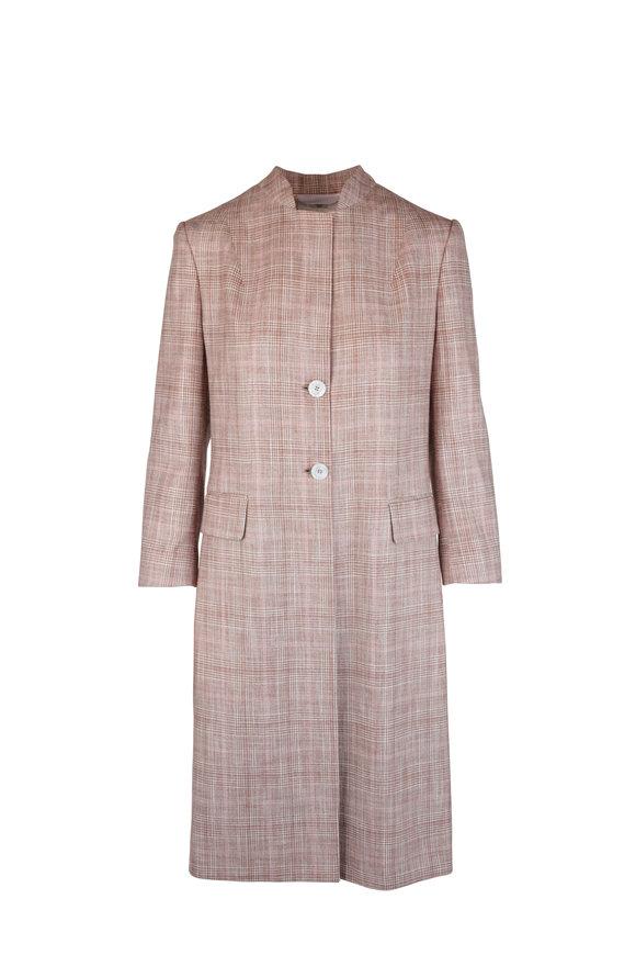 Kiton Tan & Pink Plaid Silk Blend Jacket