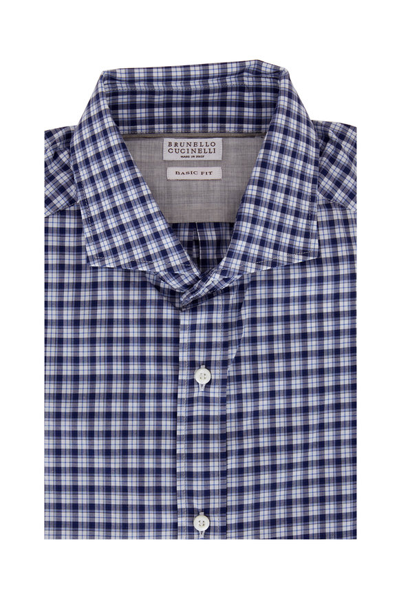 Brunello Cucinelli Navy Blue Check Basic Fit Sport Shirt