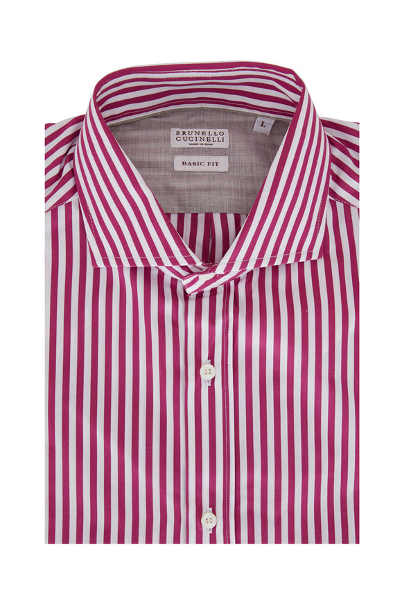 Brunello Cucinelli Berry Begal Striped Basic Fit Sport Shirt