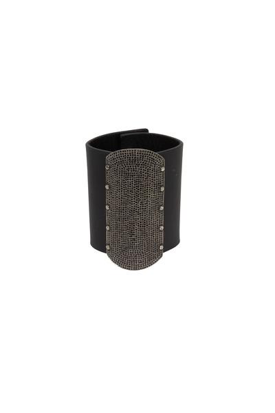 Tulah Jem - Black Spinel & Black Leather Cuff Bracelet