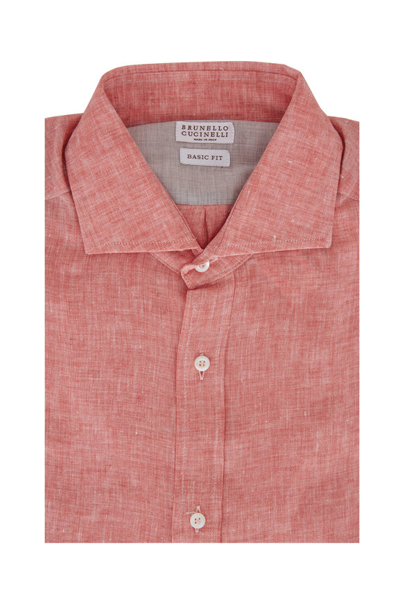 Brunello Cucinelli Orange Linen Basic Fit Sport Shirt