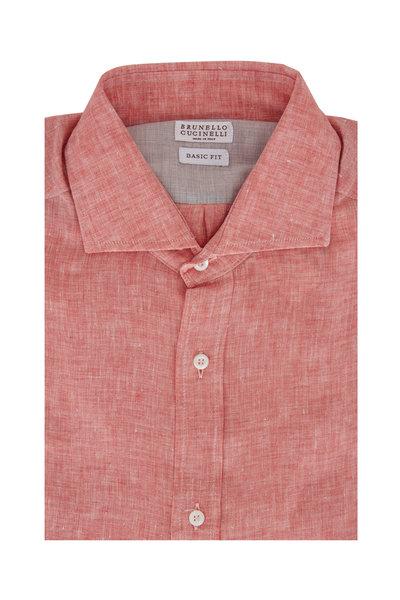 Brunello Cucinelli - Orange Linen Basic Fit Sport Shirt