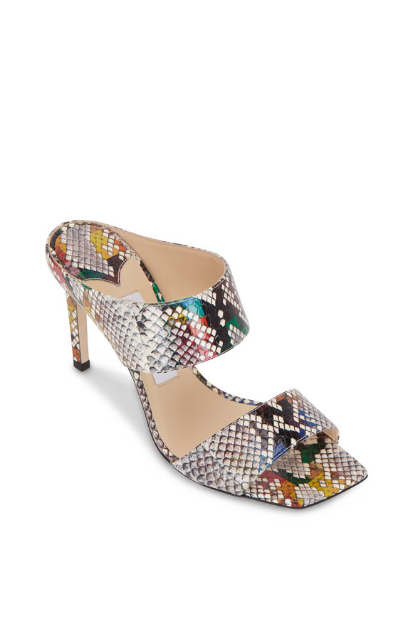 Jimmy Choo Hira Glossy Rainbow Snakeskin Slide, 85mm