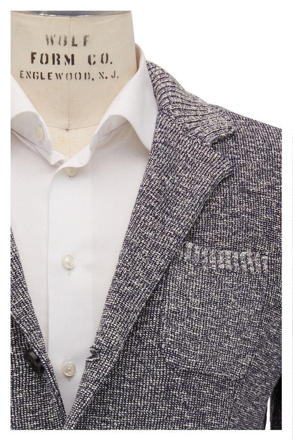 Maurizio Baldassari Blue & Ivory Melange Knit Jacket
