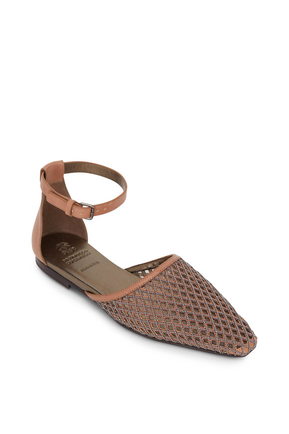 Brunello Cucinelli Light Brown Leather & Monili Mesh Flat