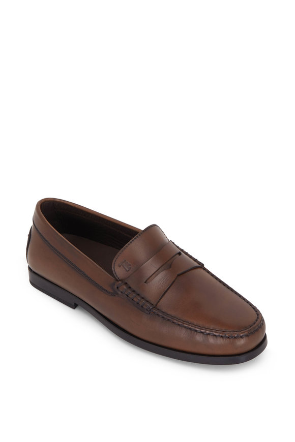 Tod's Gomma Cacao Burnished Leather Moccasino Loafer