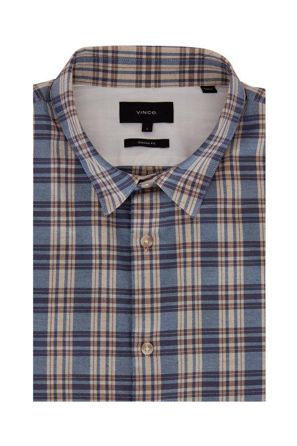 Vince Windmill Tartan Plaid Woven Sport Shirt